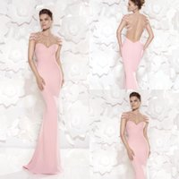 Wholesale Lace Over Silk Dress - Mermaid Pink Chiffon Evening Dress for Party Over Vestidos De Noche Beaded Appliques Cap Sleeves See Through Sweetheart