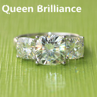 Wholesale Moissanite Diamond Rings - Queen Brilliance LUXRUY Real Platinum 5.2 Carats tcw Lab Grown Cushion Cut Moissanite Diamond Engagement Wedding Ring For Women q171026