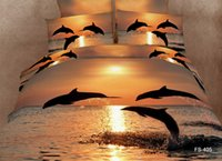 Wholesale Sunset Bedding Queen - 2016 New Arrival Animal 3D Bedding Sets Strong and Vigorous Dolphin in the Golden Sunset 4 Pieces 100% Cotton Bedding Sets Free Shipping
