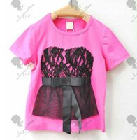 Wholesale Spot Shorts Girls - The cheapest ! !Children T-shirt Girls Lace Bow Short-sleeved T-shirt Wholesale Spot