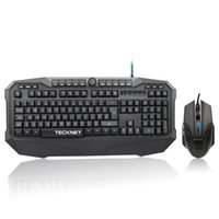 Atacado-TeckNet X701 Wired LED Iluminado Gaming Keyboard and Mouse Combo, design resistente à água, UK layout