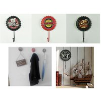 Wholesale Wall Coat Hanger Iron - 10*17cm Retro Iron Beer - bottle caps Shape Coat Hook Hats  Coats Towels Wall Hanger