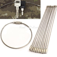 Wholesale hiking water holder resale online - Fashion Hot Stainless Steel Wire Keychain Cable Key Ring for Outdoor Hiking