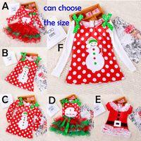 Wholesale Beach Girl T Shirt - DHL 6 design Girls Christmas Xmas Lace Dot Long sleeved Dress Costume Cotton princess Long sleeved T shirt Dresses baby Clothing B001
