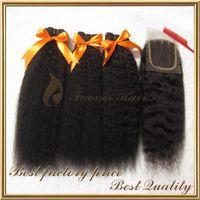 brasilianisches afro mischen haare großhandel-Afro verworrene gerade grobe yaki brasilianische reine Haarwebart des Haares 3pcs mit Verschluss-Mischungslänge 8-28inch 4pcs der Spitzenspitze Los geben Verschiffen frei