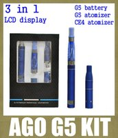 Wholesale Ce4 Kit Lcd - ago g5 with pen dry herb vaporizer starter kit with g5 battery lcd display g5 clearomizer ce4 starter kit 650mah 3 in 1 kit TZ020