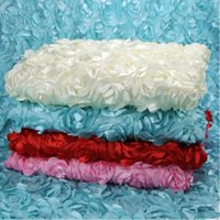 Wholesale Wedding Tablecloths Wholesale - White Rose Fashion Wedding Banquet Table Cloth Overlays 3D Rose Round Tablecloths Wedding Decoration Supplier carpet Wedding Decorations