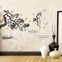 Wholesale mountain wall painting - Chinese style wall stickers Lakes mountains landscape painting art decals mural living room bedroom home decoration