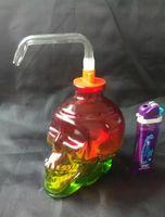 volle set glasbong großhandel-Kostenloser Versand Großhändler ----- Farbige Glas Glas Schädel Knochen Shisha / Glas Bong, erhalten eine vollständige Reihe von Zubehör