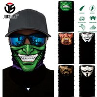 Atacado- 3D Seamless Multifuncional Magic Comic Personagens Tubular Skull Shield Face Mask Headband Bandana Headwear Ring Head Scarf Homens