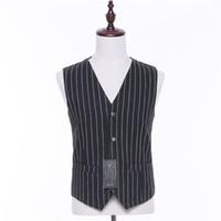 ingrosso vestito bianco nero su misura-Classic New White a righe con scollo a V senza maniche da uomo nero abito da sposa Vest e Business formale Suit Vest Tailored