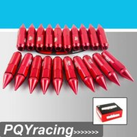 Wholesale J2 RACING Store BX STYLE ALUMINUM EXTENDED TUNER LUG NUTS WITH SPIKE FOR WHEELS RIMS M12X1 PQY ELB1215 RED LUG NUT