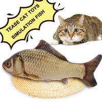 Wholesale Wood Carp - Wholesale- Plush Simulation Carp Shape Pet Cat Mint fish Teaser Toys Soft Lovely Gift