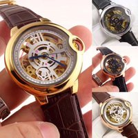 Wholesale Butterfly Shocking - 2017 Free Shipping Casual Clock Watch Men Top Luxury Fashion Gold hollow Skeleton Sport Relogio Masculino Automatic Mechanical Watches saat