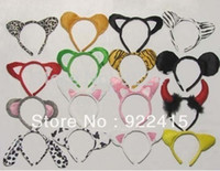 Wholesale Tiger Costume Ears - Cute Animal Ear Party Headband Bear ,Minnie ,Dog ,Frog ,Tiger ,Leopard ,Cat Fancy Dress Costume Hairbands for Christmas Halloween Carnivals