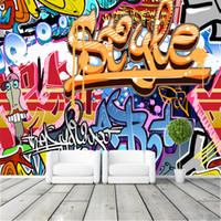 ingrosso ragazzo arte della camera da letto-Graffiti Ragazzi Urban Art Photo Wallpaper Wallpaper popolare Personalizzato Murale Ragazzi Bambini Camera da letto Decorazioni per la casa Arte di strada FOTO