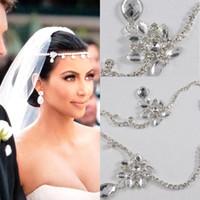 kristal görüntüler düğün toptan satış-Yeni Kim Kardashian Gerçek Görüntüler Su Damlası Kolye Kristal Gelin Düğün Saç Parça Aksesuarları Takı Tiara CPA318