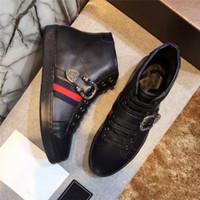 chaussures d'hiver à talons hauts achat en gros de-Chaussures pour hommes, chaussures montantes d'automne et d'hiver chaussures à talons hauts, broderies en cuir à la tête de tigre en cuir Angleterre G chaussures chaussures