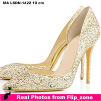 Wholesale Shoes For Gold Sequin Dress - Multi-color Bling Sequins Gold Wedding Shoes for Bride Pointed Toe High Stiletto Heels Bridal Party Bridesmaid Dress Shoes Cheap Plus Size