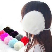 kabarık kulaklıklar toptan satış-Wholesale-10 ADET Moda Zarif Kadınlar Bayanlar Siyah Peluş Kabarık Sıcak Earmuffs Earlap Kulak Kış KCF088