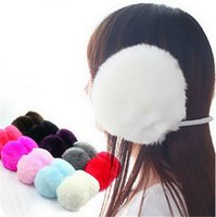 Wholesale Ear Muffs Wholesale - Wholesale-10 PCS Fashion Elegant Women Ladies Black Plush Fluffy Warm Earmuffs Earlap Ear Winter KCF088