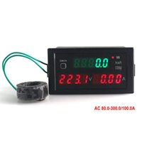 Wholesale amps electrical - Multifunction Volt Amp Meter AC Range 80-300V 0-100A Digital AC LED Display Active Power And Power Factor Current Free Shipping