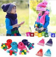 Wholesale Hat Scarf Button - Wholesale-2015 Hot Korean version of the candy-colored buttons thick wool hat and scarf Children's suits