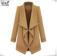 Wholesale Camel Coat Lapel - Wholesale-Winter Woman Roupas Femininas Casual Fashion Designer Clothes Female Autumn Camel Lapel Long Sleeve Belt Woolen Coat