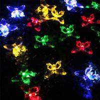 kelebek güneş led bahçe lambaları toptan satış-Güneş Lambaları 4.8 M 20 LEDs renkli Kelebek çelenk peri luces Su Geçirmez Noel Açık Bahçe güneş led dekorasyon ışık