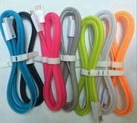 Wholesale Wholesale Flat Magnet - Colorful Magnet 1M Micro Flat Noodle USB Charger Cable For Samsung Galaxy S4 S3 Note 2 HTC Blackberry