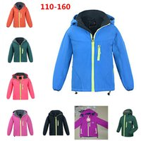 Wholesale Ski Jacket Wholesaler - The North Kids Fleece Jacket Winter Hoodie Coats Face Boys Girls Outdoor Skiing Hoodies Jackets 110-160cm high quality