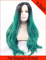 Wholesale Long Lace Front Heat Wig - In Stock Long Wig Body Wave Ombre Green Color Synthetic Lace Front Wig Heat Friendly Hair with Baby Hairs As the Picture Show