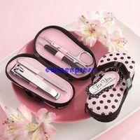 Wholesale Manicure Slipper Kits - 4 in 1 Pink Polka Dots Slipper Manicure Pedicure Set Novelty Xmas Wedding Gift Tool Kit