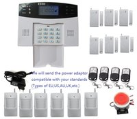 Wholesale Diy Gsm Wireless Alarm System - DIY alarm kit with LCD display Screen 7 wired and 99 wireless defense zones Wireless Home Security Burglar GSM SMS Alarm System