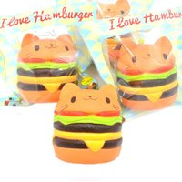 Jumbo Kawaii Cat Hamburger Squishy Charms Squishy Burger Lento aumento Squeeze Soft Scented Phone Straps Colección de juguetes