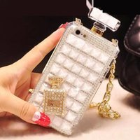 Wholesale White Lady Perfume - For iPhone7 7plus 6s Case Colorful Lady Crystal perfume bottle with necklace cover case for i6 6plus with Retail Package DHL Free SCA081