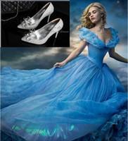 Wholesale Beaded Platform Sandals - 2015 Cinderella High Heels Crystal Wedding Shoes Celebrity Thin Heel Rhinestone Platform Butterfly Cinderella Crystal Shoes