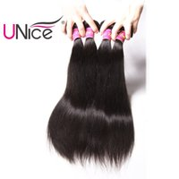 Wholesale Human Hair 1piece - UNice Hair Indian Straight Human Hair Extensions 8-30inch Unprocessed Bundles 1Piece Hair Weaving Natural Color Non Remy