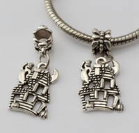 Wholesale Ghost Jewelry - Hot Sales ! 200pcs Antique Silver *CUTE HAUNTED HOUSE GHOST* Dangle Beads Fit Charm Bracelets DIY Jewelry 14x 33mm