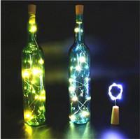 botellas de vino de vidrio de color al por mayor-Lámpara coloreada 2M 20LED Tapón de botella de corcho Luz Vidrio Vino LED Cadena de alambre de cobre Luces para la fiesta de Navidad Boda