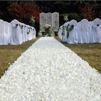 wedding cake supplies decorations achat en gros de-10 m / lot 1,4 m largeur romantique blanc 3D pétale de rose tapis allée coureur pour la toile de fond de centre de table faveurs parti décoration fournitures