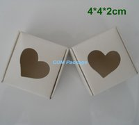 Wholesale Handmade Pack For Jewelry - 4*4*2cm White Kraft Paper Box Gift Packing Box With Heart Hollow Out For Wedding Candy Handmade Soap Jewelry Earring Ring Necklace Packaging