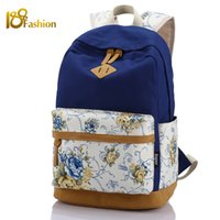 Wholesale Print Laptop - Wholesale-Brand Quality Floral Pattern Canvas Bag School Backpack Bags for Teenagers Girls Laptop Bag Printing Backpack Women Backpack