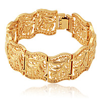 verdadeiras pulseiras de ouro para mulheres venda por atacado-Novo Item Do Vintage Scroll Deixa Cuff Bracelet Bangle 18 K Real Banhado A Ouro Pulseira Moda Jóias Para As Mulheres Por Atacado YH5195