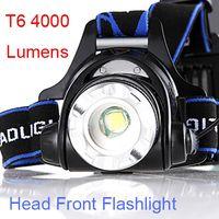 led-taschenlampen großhandel-HOT SELLING Fahrrad-Kopf-Frontscheinwerfer T6 4000 Lumen LED Zoomable Kopflampe Klettern Licht vorne Nacht Fahrrad-LED-Taschenlampe