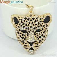 Wholesale-Cool Crystal Leopard Head Animal Keychain Rhinestone Metal Chaveiro Ring Holder Purse Charm Jewelry Accessory Frete grátis