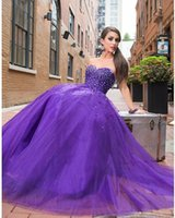 Reference Images Ball Gown Sweetheart Hot Sexy Cute Purple Sweetheart Sleeveless Pearl Crystal Beaded Ball Gown Organza Prom Dresses Cheap Evening Gowns Party Dress Free Shipping