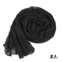 Wholesale Crinkle Cotton Scarves Wholesale - Girl Women's Large Cotton Linen Long Crinkle Scarf Wraps Shawl Colorful Candy 100pcs lot