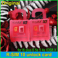 Wholesale 4g 4s Wholesale - Official Original R-SIM 10 RSIM10 R-SIM10 SIM Card Perfect Unlock IOS 6.x-8.x RSIM 10 for iphone 6 plus 6 5S 5C 5 4S GSM CDMA WCDMA 3G 4G