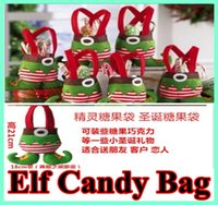 Wholesale Elf Wedding - In Stock Elf Bags Christmas Candy Gift Bag Xmas wedding Party Supplies Top Selling Christmas Decorations